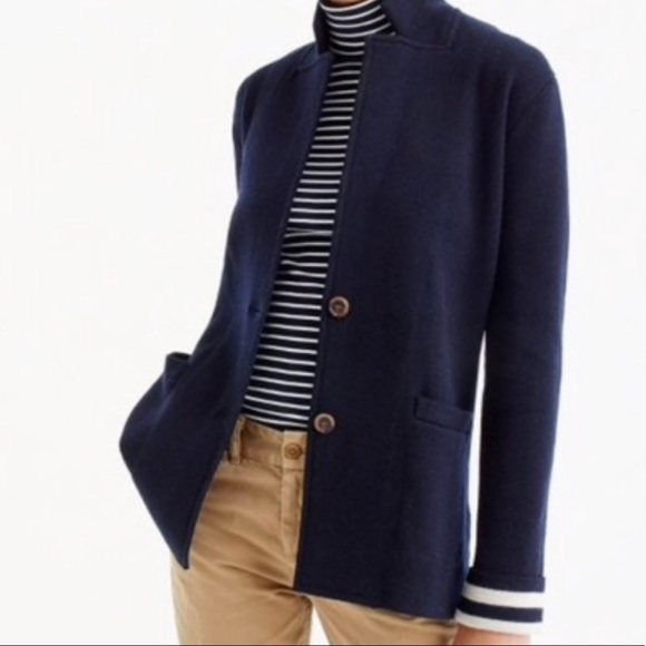 dd7431aa11ebd NWT J.Crew merino wool sweater blazer navy sz M